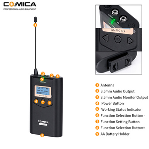 Image 5 - Comica CVM WM100 H UHF 48 Channels Wireless Handheld Microphone System Kit for Canon Nikon DSLR Cameras and Smartphones etc.