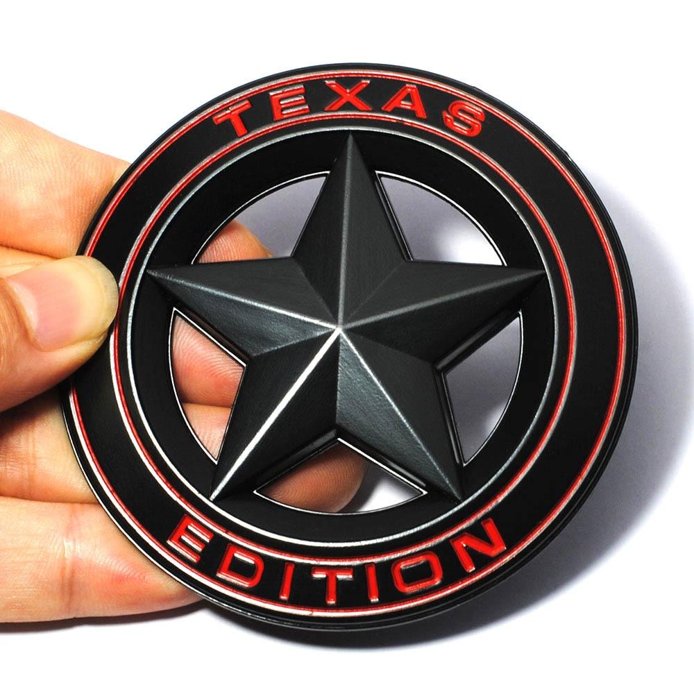 3D Metal TEXAS EDITION Shield Pentagram Emblem Badge Car Fender Side Tail Body Sticker for JEEP Wrangler Liberty Grand Cherokee auto chrome camaro letters for 1968 1969 camaro emblem badge sticker