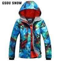 Snow Gsou Double Veneer Ski Suit Female South Korean Waterproof Waterproof Outdoor Winter Coat