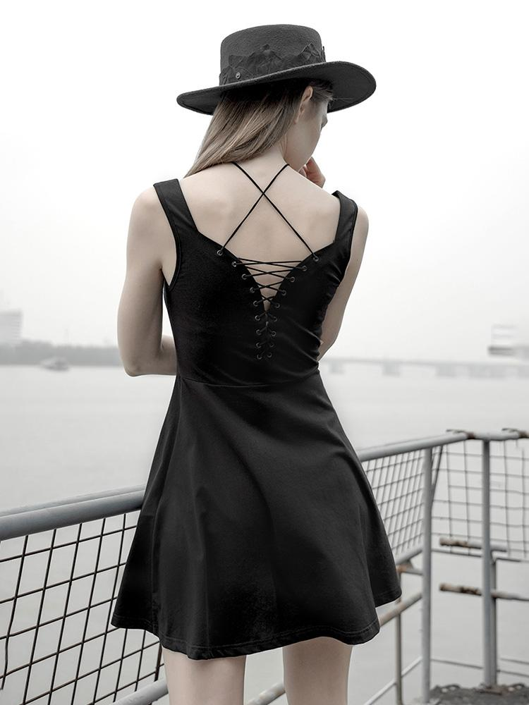 Punk Rave femme Goth dos nu laçage gilet robe noir petite robe PQ-595LQ asie taille