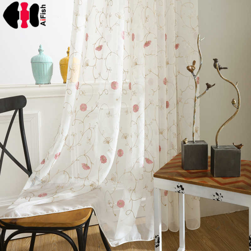 Pink flower embroidered Voile curtains door curtains for living room Tulle for the kitchen tulle sheer floral curtains WP400A