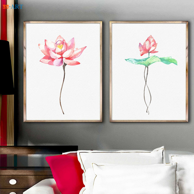 Framed Canvas Printed Lotus Watercolor Painting Pink Flowers Poster ...
