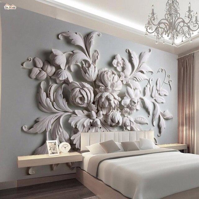 Shinehome Grand Relief Floral Shell Linge De Chambre Peinture Papier