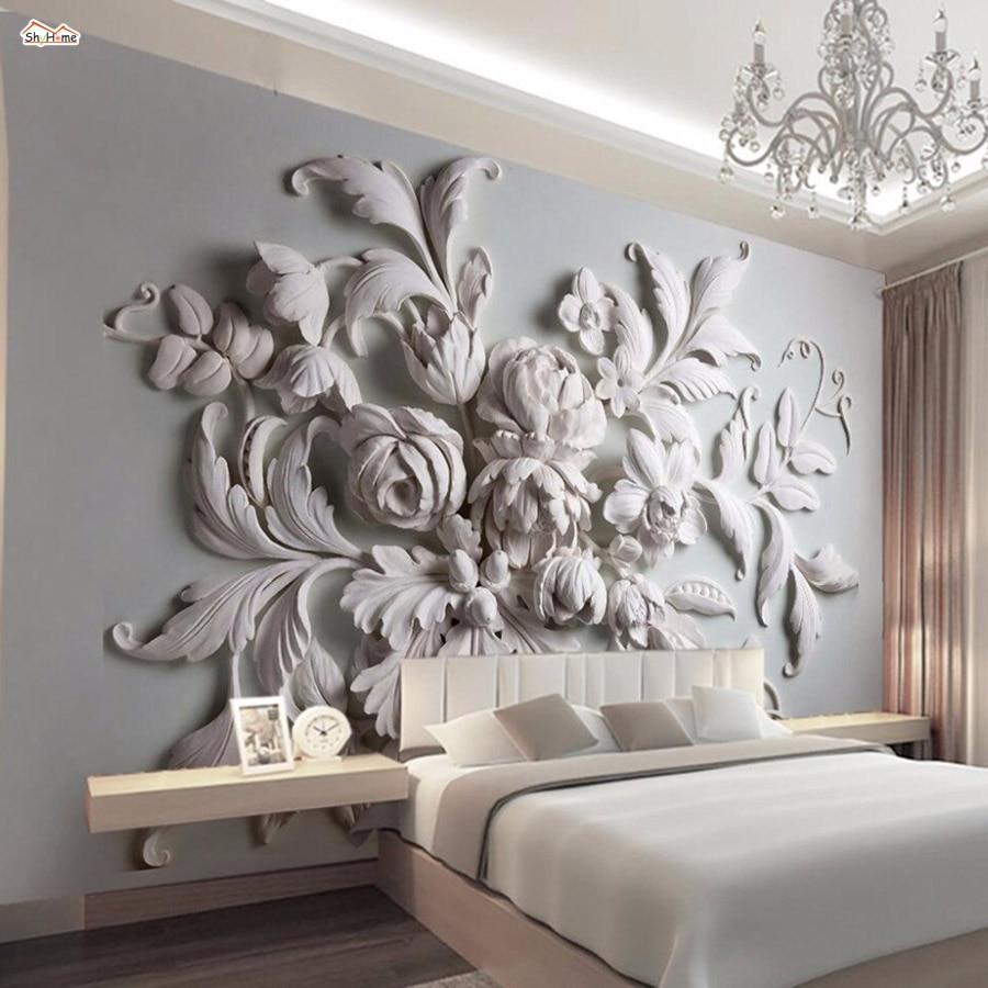 Shinehome Grande Coquille Florale Gaufree Papier Peint Peinture En Lin Pour Salle De Sejour 3 D Couverture De Mur Rouleaux De Murales Aliexpress