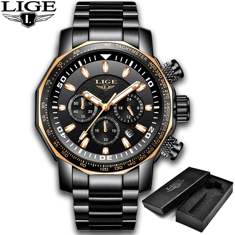 LIGE Top Brand Luxury Men Watch Large Dial Stainless Steel Military Watch Men Waterproof Sports Quartz Clock Relogio Masculino image