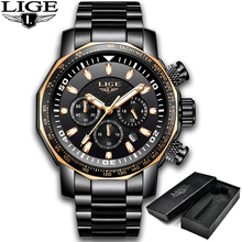LIGE Top Brand Luxury Men Watch Large Dial Stainless Steel Military Watch Men Waterproof Sports Quartz Clock Relogio Masculino цена