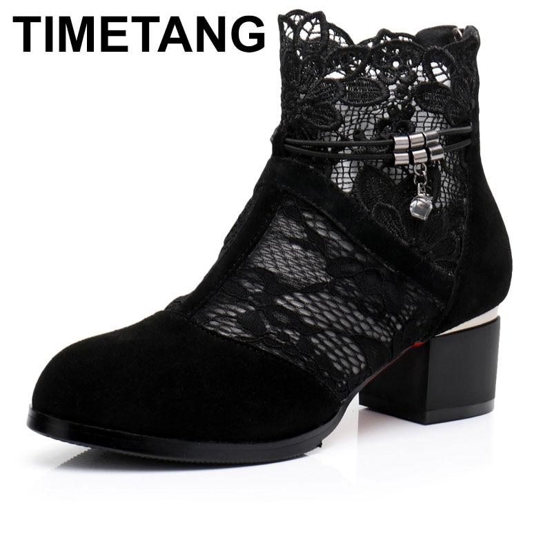 Chaussures Stiefel Echtem Stiefeletten High Schwarzes Leder Zapatos Timetang Sommer Mesh weiß out Schuhe Femme Frauen Heels Platz Hohl PWzccdRwq