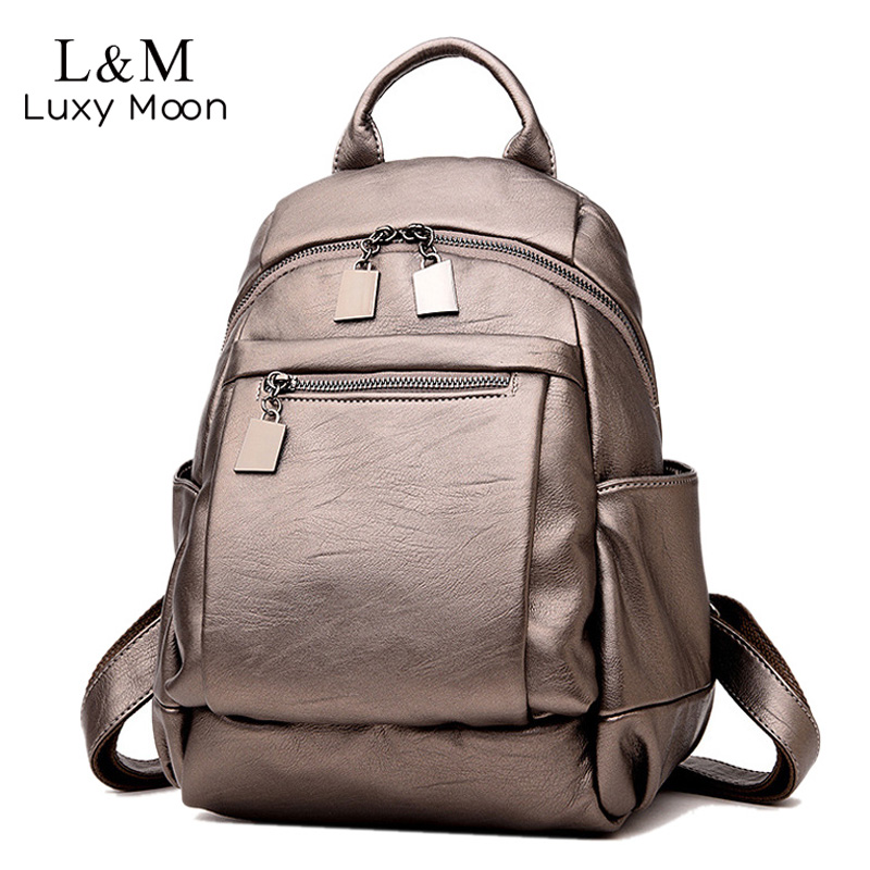 Fashion Gold Leather Backpack Women Black Vintage Large Bag For Female Teenage Girls School Backpacks Solid Bags mochila XA75H fashion gold leather backpack women black vintage large bag for female teenage girls school bag solid backpacks mochila xa56h
