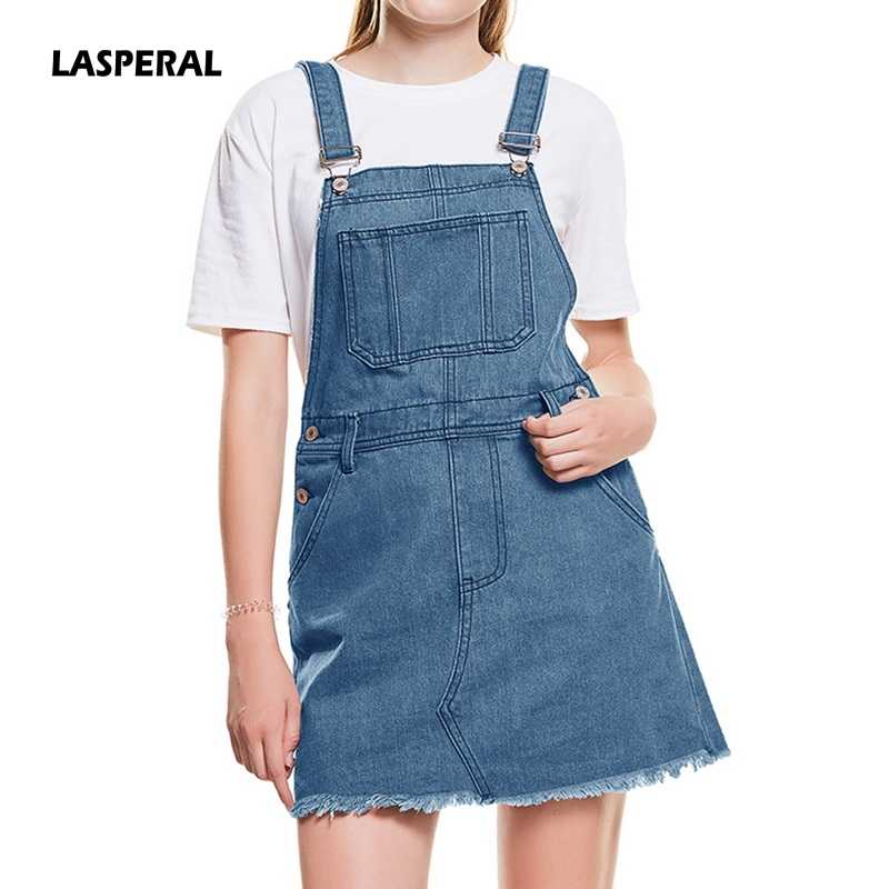 f8f1c56ceace LASPERAL Hem Distressed Denim Overall Pocket 2019 Summer Strap Sleeveless  Ripped Clothes Women Casual Denim Mini