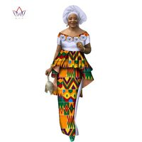 Summer Women Dress Skirt Sets Traditional African 2 Pieces Women Set Clothing Custom Made Tops + Skirts Hot Sale BRW WY2636