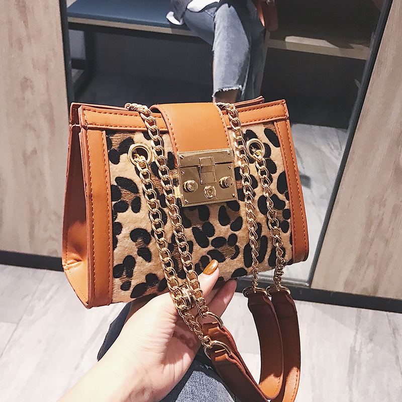 New Women Hardware lock handbags Leopard/zebra Print chain Shoulder Messenger Bag all-match tide crossbody bag figure print chain bag