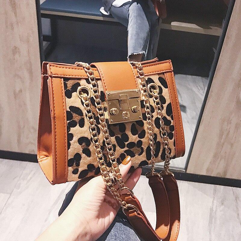 New Women Hardware lock handbags Leopard/zebra Print chain Shoulder Messenger Bag