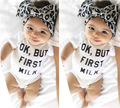 Newborn Baby Boy Girls Clothing Tops Bodysuit Jumpsuit Letter Printed Outfit Sunsuit Clothes 0-18M
