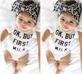 Topos de Roupas Das Meninas do Menino Do Bebê recém-nascido Bodysuit Macacão Sunsuit Letra Impressa Roupa Roupas 0-18 M