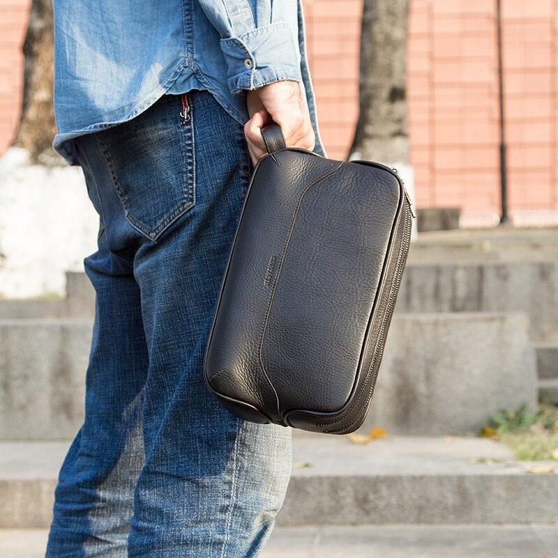 CONTACT'S 100% sac cosmétique en cuir véritable pour hommes trousse de toilette homme vintage sacs de lavage maquillage sacs de toilette organisateur de voyage - 4