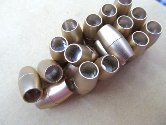 12pcs larger hole-- BRASS Magic Clasp Connectors brass Magnetic Clasps round rice,barrel column matte clasp 9-16mm