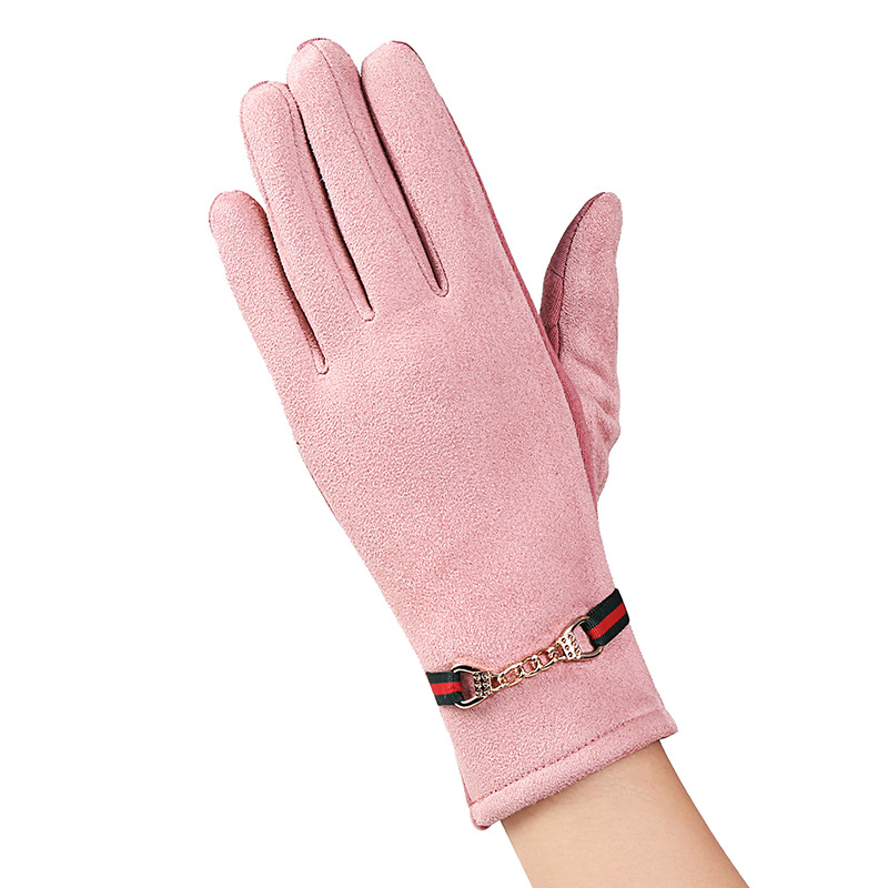<font><b>14</b></font> Colors Fashion Winter <font><b>Touched</b></font> <font><b>Screen</b></font> Warm Windproof Chain & Button Suede Full Finger Thick Women Gloves image