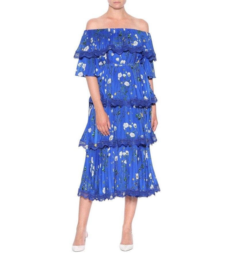2019 Nieuwe aankomen hoge kwaliteit blue print vrouwen jurk-in Jurken van Dames Kleding op  Groep 1