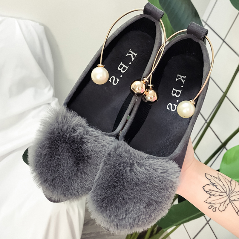 Womens Shoes Flats <font><b>Ladies</b></font> Slip-on Fur Casual Loafers Woman Fashion Shine <font><b>2018</b></font> New Party Elegant <font><b>Sexy</b></font> Female Shoes Promotion image