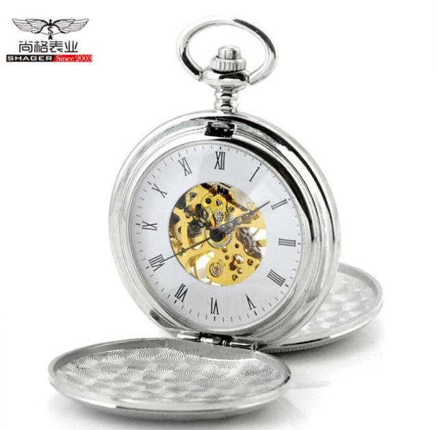 Hot Sale Antique Silver Double Openable Case Mechanical Men Pocket Watch