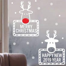 Get more info on the cartoon deer christmas snowflake wall stickers bedroom shop window home decor happy new year wall decals vinyl posters