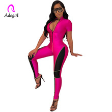 Fitness Skinny Jumpsuit Sexy Sport Bodycon Jumpsuit Women Casual Long Sleeve Zipper Front Female Jumpsuit Tracksuit Rompers 2019