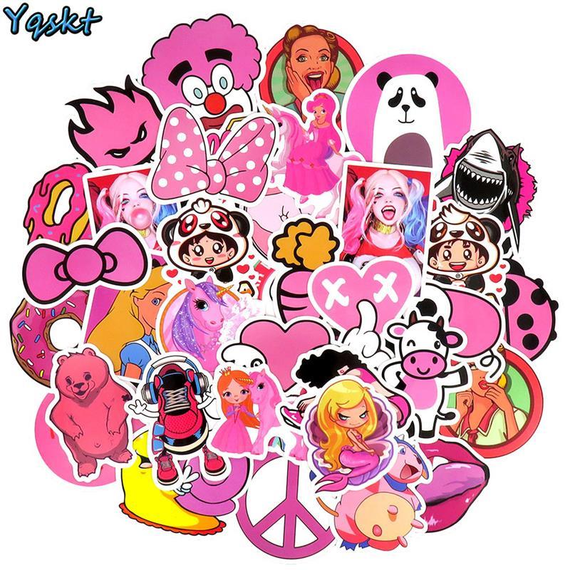 50 Pcs Pink Cute Cartoon Sticker For Laptop Phone Suitcase Guitar Skateboard Motorcycle Bicycle Graffiti DIY Waterproof Stickers