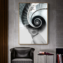 Abstract Figure Nordic Poster Wall Art Canvas Painting Pictures Spiral Stair For Living Room  Print Girls Women Cuadros Unframed girls abstract figure print tee