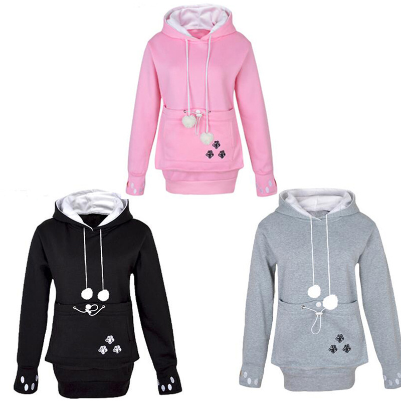 Cat Lovers Hoodies Coat With Cuddle Pouch Dog Pet Hoodies For Casual Kangaroo Pullovers With Ears Sweatshirt