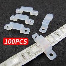100 шт. зажим фиксатора, фиксатор, силиконовый клип 5050 5630, кремниевый крепеж, Светодиодная лента, светильник, фиксация, аксессуар, прочный 12 мм, домашний декор, RGB