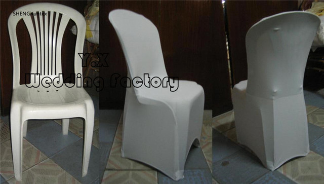 good price white color spandex chair cover used for plastic chair in