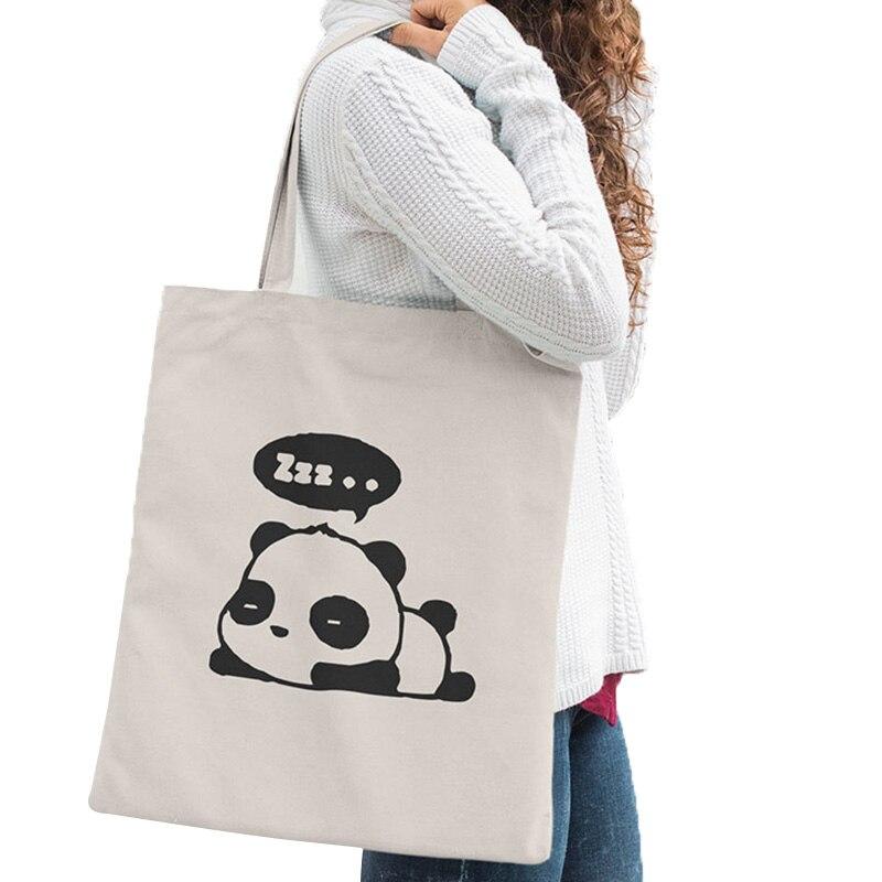 かわいいパンダキャンバスバッグかわいいアニメファッションショッピング旅行大再利用可能なトートバッグ男性女性トートバッグ