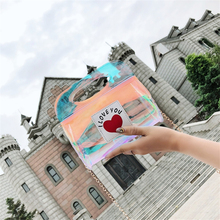 New One-shoulder Fashion Bag With Chain Ins Super Fire Pack Girls Wild Mini Bags Peach Heart Laser Buckle Pouch Hot Sale