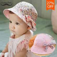 New Flower Print Cotton Baby Summer Hat Kids Girls Floral Bowknot Cap Sun Bucket Hats Double Sided Can Wear gorro