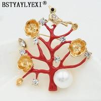 BSTAYLYEXI Christmas Tree Bird Elegant Multi Color Rhinestone Brooches Women Wedding Party Jewelry Accessories Bridal Broach