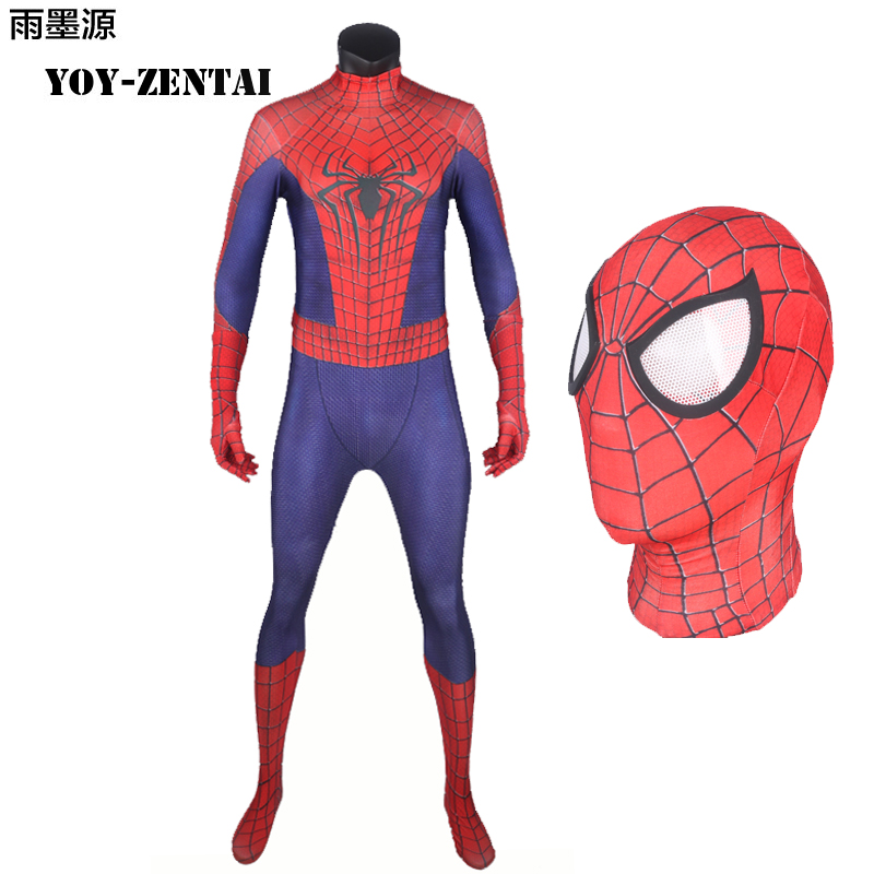 YOY-ZENTAI High Quality Amazing Spiderman Costume Movie Amazing Spiderman Suit For Halloween