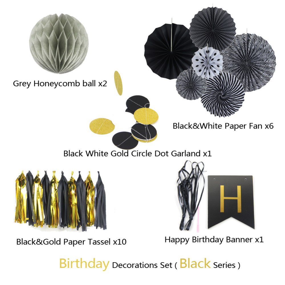 20pcs Black Happy Birthday Party Paper Decoration Kit Banner Tassel Garland Paper Fan Rosettes Circlel Garland Decor in Party DIY Decorations from Home Garden
