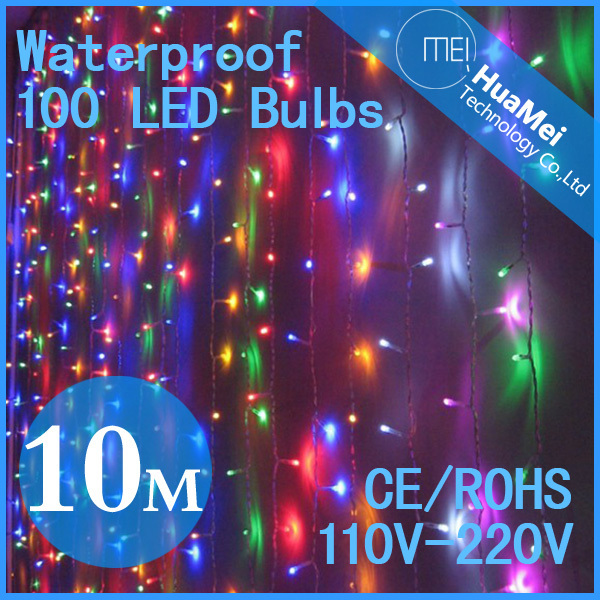light strip,IP65,AC220V,lamps,100 bulbs,8Modes,Adapter included,10M,Christmas light colorful,Free shipping&High quality,led lamp