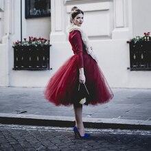 Винтаж бордовый Цвет Тюлевая юбка s по колено пышные Тюлевая юбка для Для женщин с эластичной талией 7 Слои Тюль с 1 слоем хлопковой подкладки для девочек индивидуальный заказ