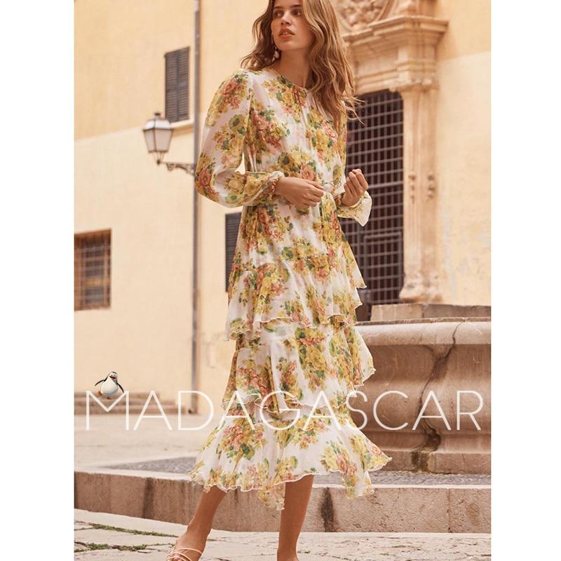 2018NEW высокого качества модные дизайнерские желтые Многоуровневое рюшами нерегулярные миди с цветочным принтом шелковое платье от