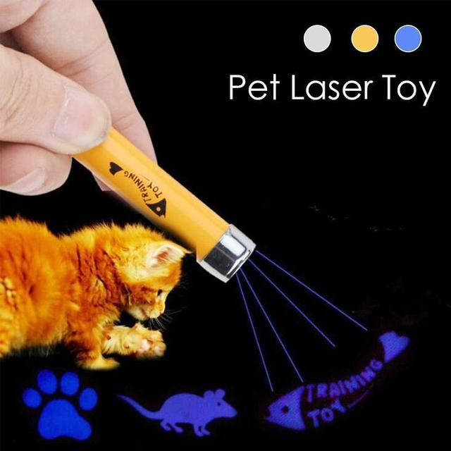 1 Pcs Portable Creative Funny Pet Cat Toys LED Laser Pointer light Pen With Bright Animation Mouse Shadow #35