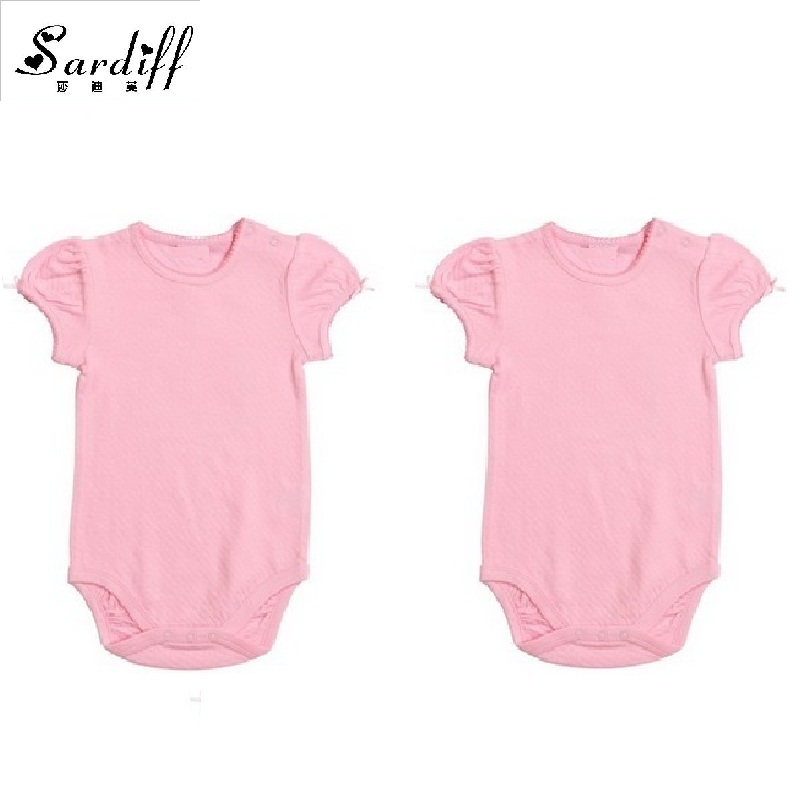 f9ff921a1 Best buy 2017 Baby Bodysuits Children s Girls One pieces Angle Wing Twins  Babysuits With Bow Short Pink White Sleeve Fashion Wholesale online cheap