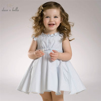 DB3296 dave bella summer baby girl pink blue flowers dress sleeveless striped dress princess wedding dress