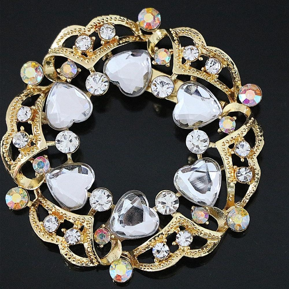 742fe20a3bf6 Nuevas mujeres semipreciosas grande coreano broche redondo para colorido  corazón rhinestone Cristal de oro de color joyería accesorio B1227