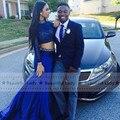 2016 Africano Azul Royal Vestido de Baile De Alta Pescoço Frisado Manga Longa cetim de Duas Peças Vestidos de Baile Vestido De Festa Vestido de Festa À Noite