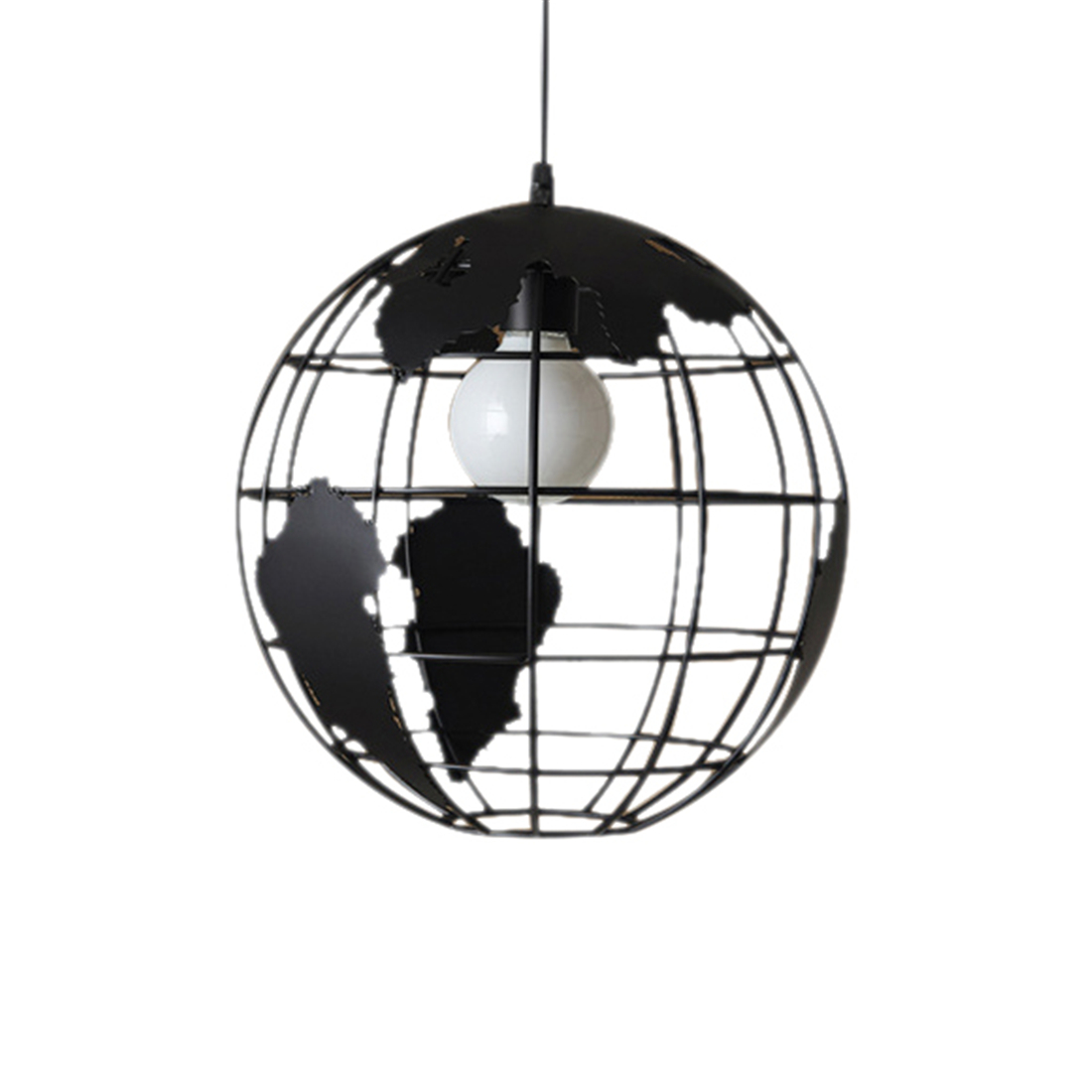 Black Creative Loft Continental Single Retro Globe Chandelier Modern Metallic Lounge Casual Ceiling Lamp