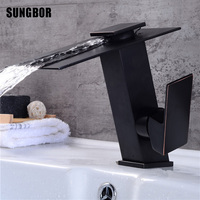 Waterfall Bathroom Basin Faucets Brass Mixer Tap Cold and Hot Basin Sink Mixer Waterfall Tap Black Water Sink Faucet Tap AL 7805