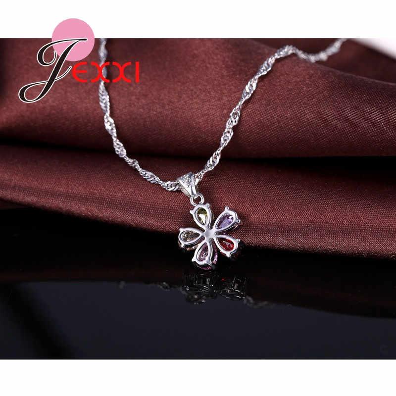 925 Sterling Silber Bunte Cubic Zirkon Anhänger Halskette Ohrringe Set Für Frauen Mode Blume Braut Hochzeit Schmuck
