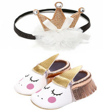 INS Unicorn Horn Synthetic Leather Moccasins Elastic Band Tassel Newborn Baby Footwear + Glitter Crown Lovely Headband(China)