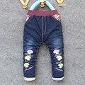BibiCola 2017 moda inverno crianças calças do bebê meninas cowboy calças grossas de algodão quente crianças lazer Calça Jeans frete grátis